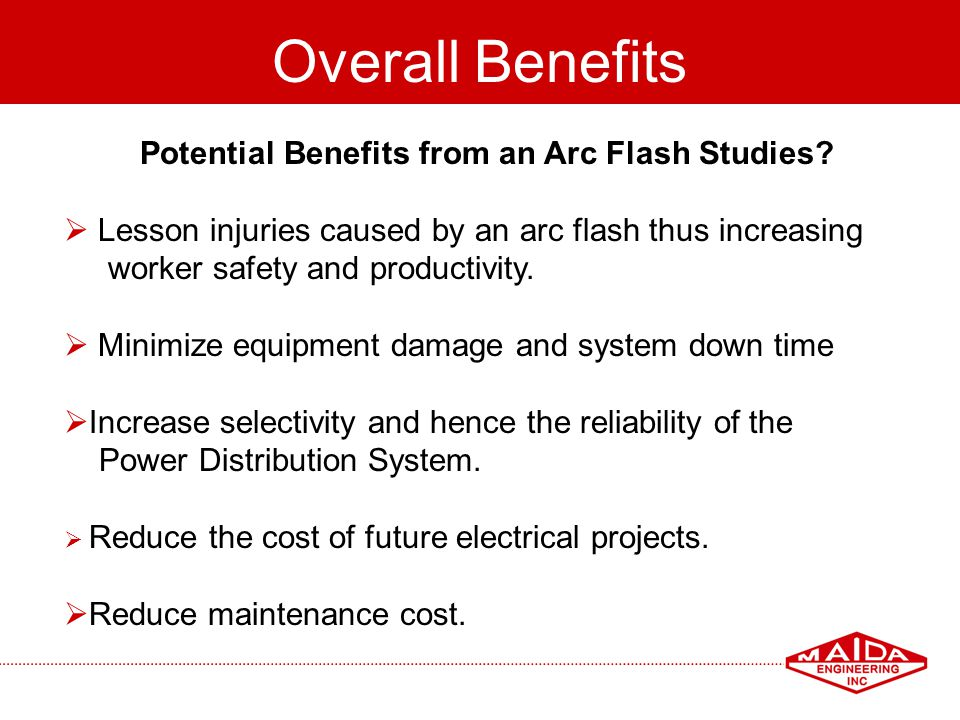 Potential Benefits from an Arc Flash Studies