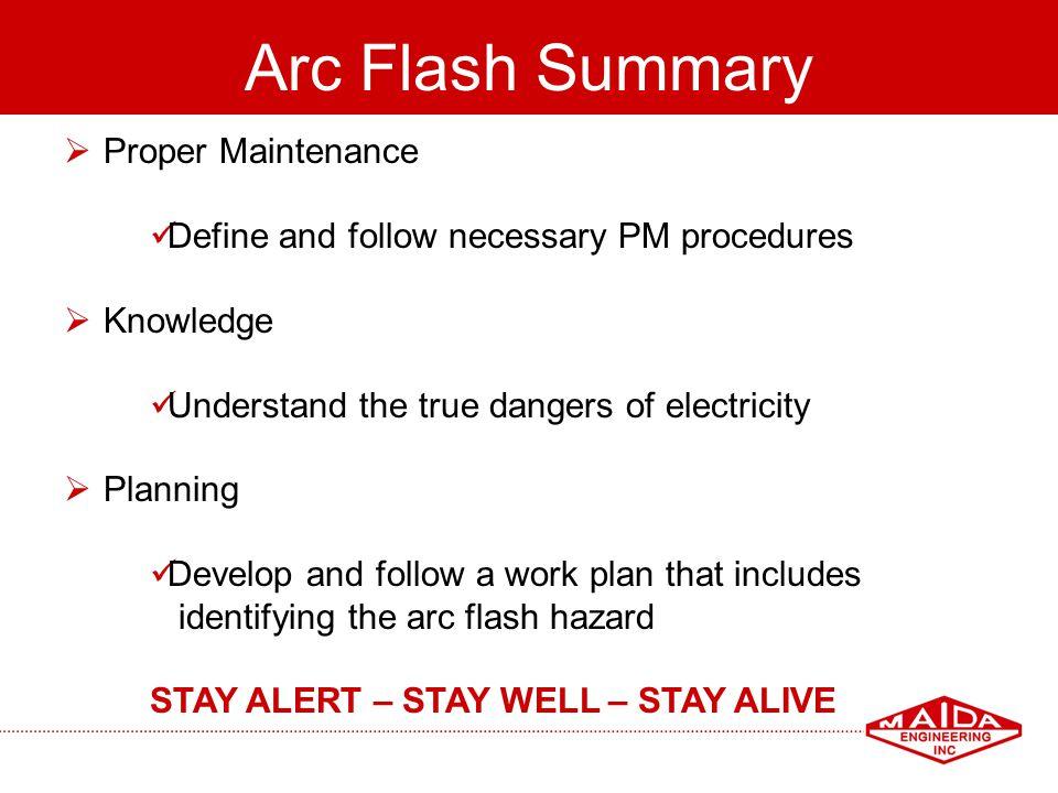 Arc Flash Summary Proper Maintenance