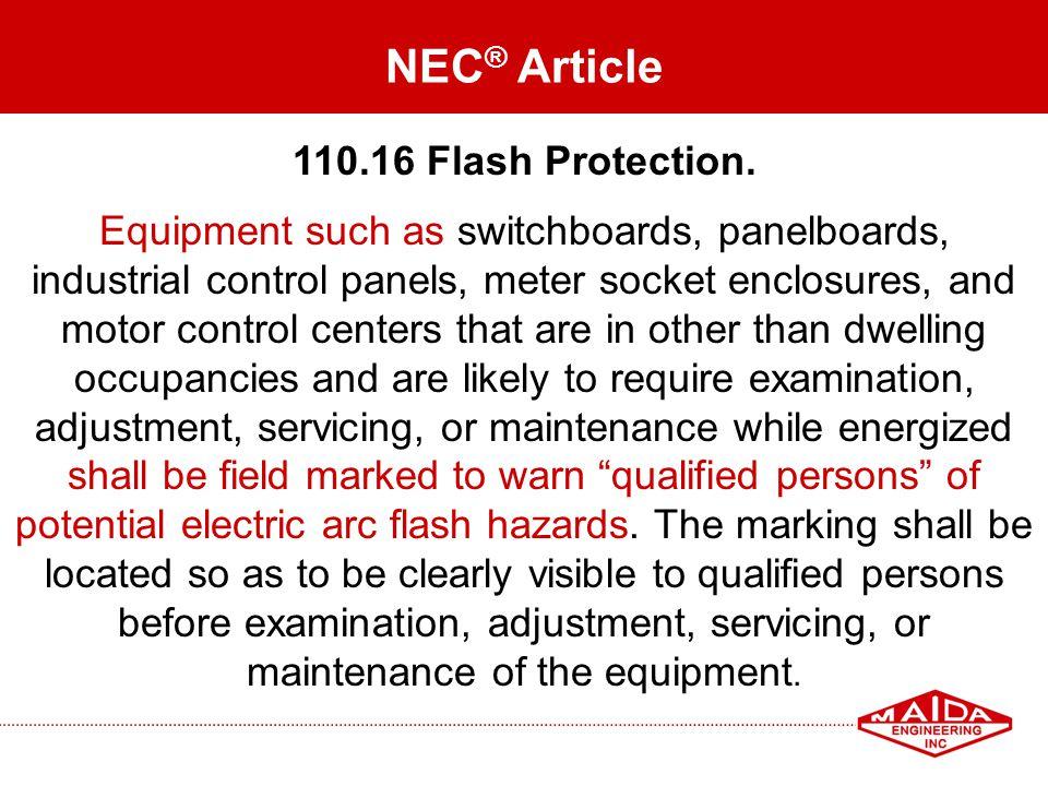 NEC® Article 110.16 Flash Protection.
