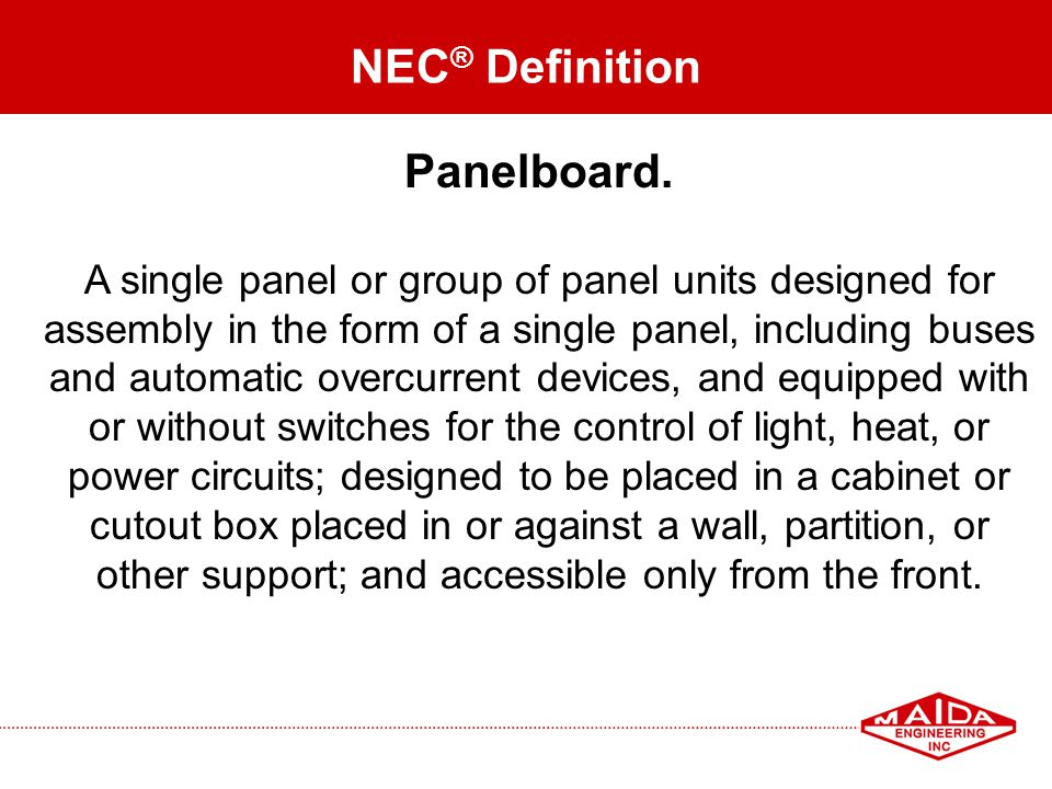 NEC® Definition Panelboard.