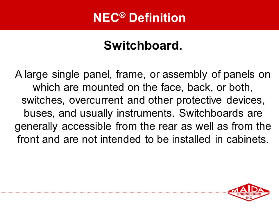 NEC® Definition Switchboard.