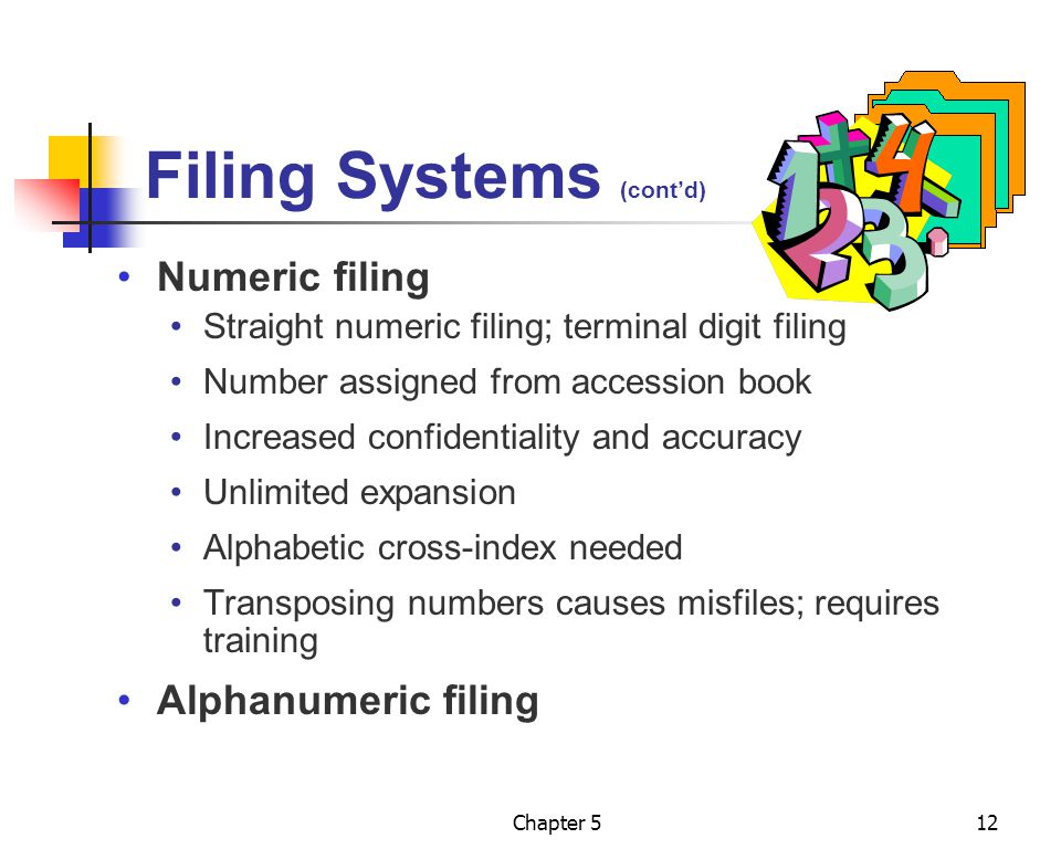 Filing Systems (cont'd)