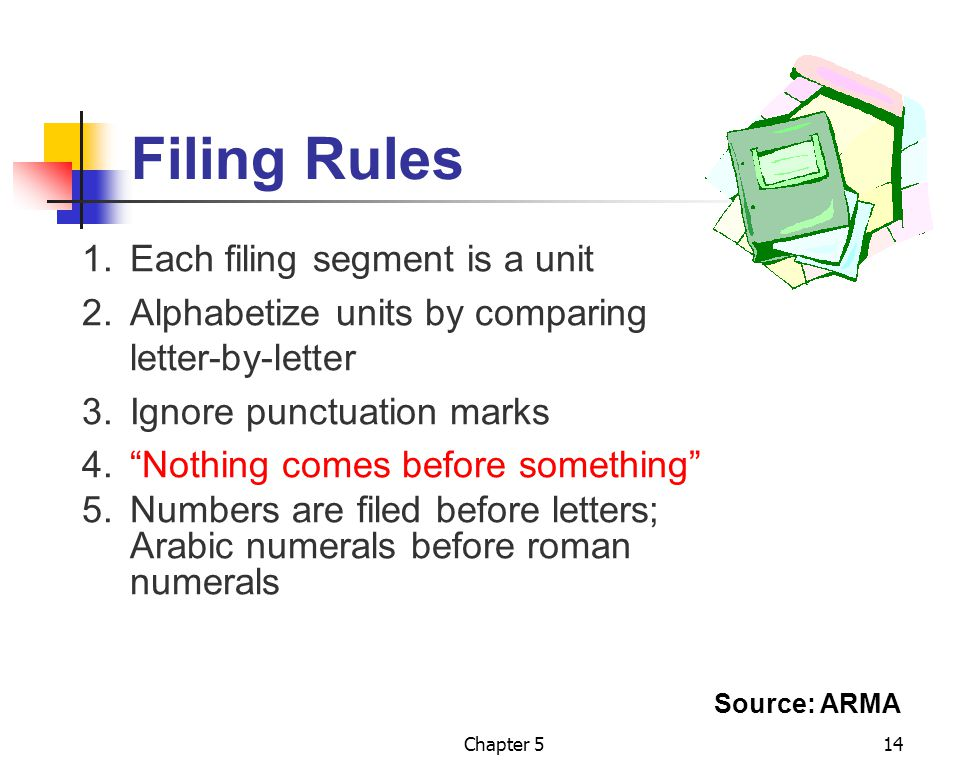 Filing Rules 1. Each filing segment is a unit