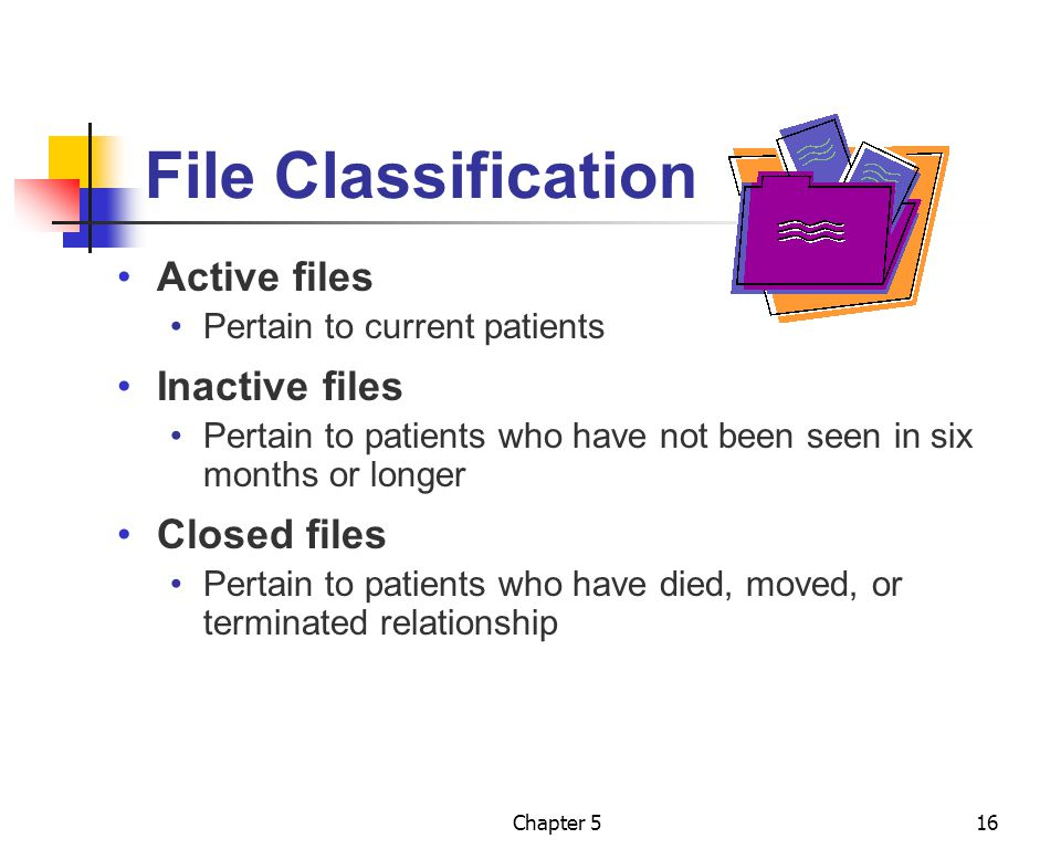 File Classification Active files Inactive files Closed files
