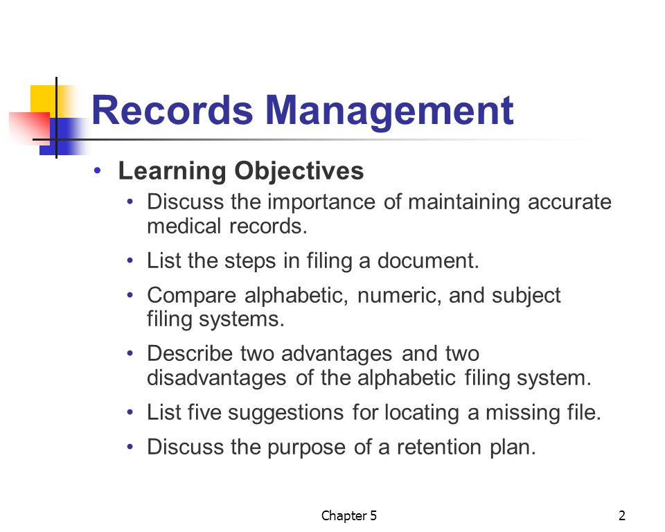 Records Management Learning Objectives