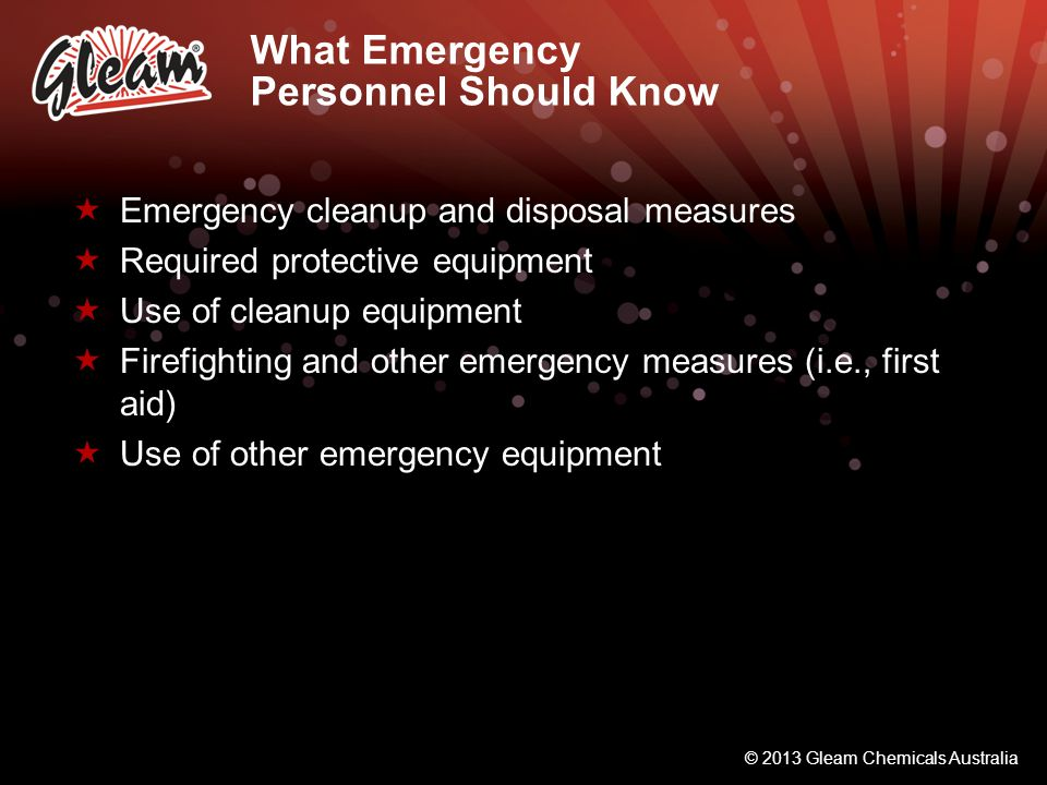 What Emergency Personnel Should Know
