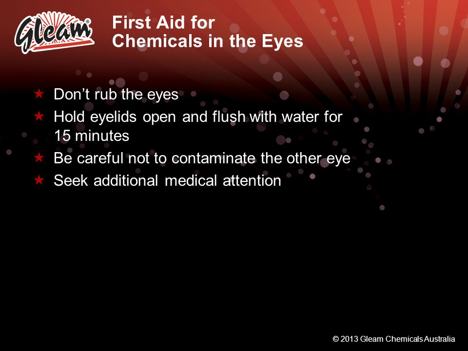 First Aid for Chemicals in the Eyes