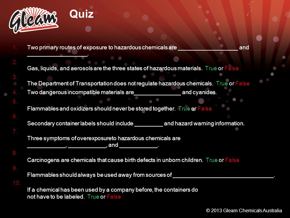 Quiz Two primary routes of exposure to hazardous chemicals are ___________________ and ___________________.