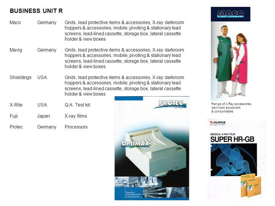 BUSINESS UNIT R Maco Germany Grids, lead protective items & accessories, X-ray darkroom. hoppers & accessories, mobile, pivoting & stationary lead.