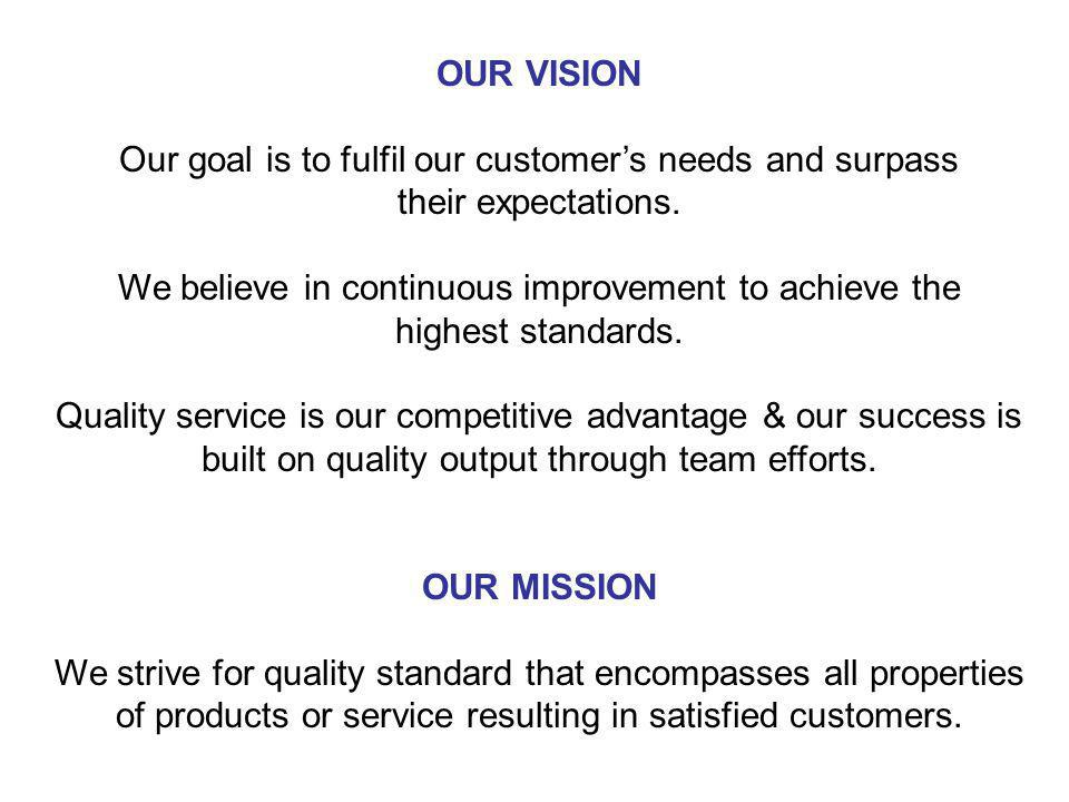 Our goal is to fulfil our customer's needs and surpass