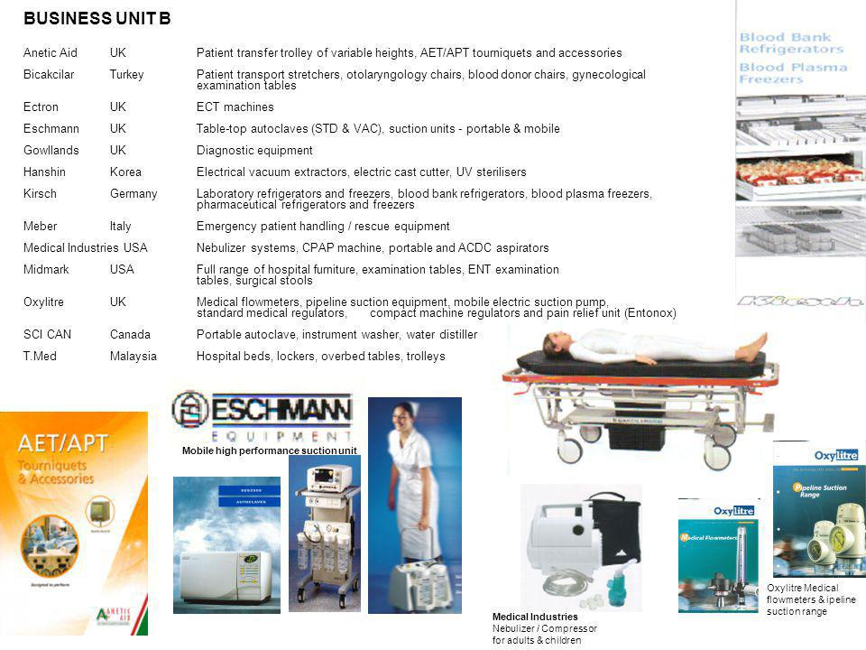 BUSINESS UNIT B Anetic Aid UK Patient transfer trolley of variable heights, AET/APT tourniquets and accessories.