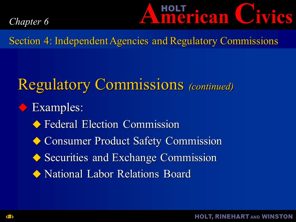 Regulatory Commissions (continued)