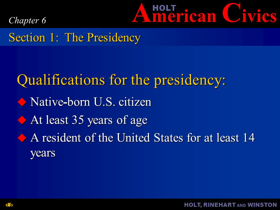 Qualifications for the presidency: