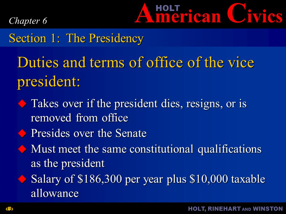 Duties and terms of office of the vice president: