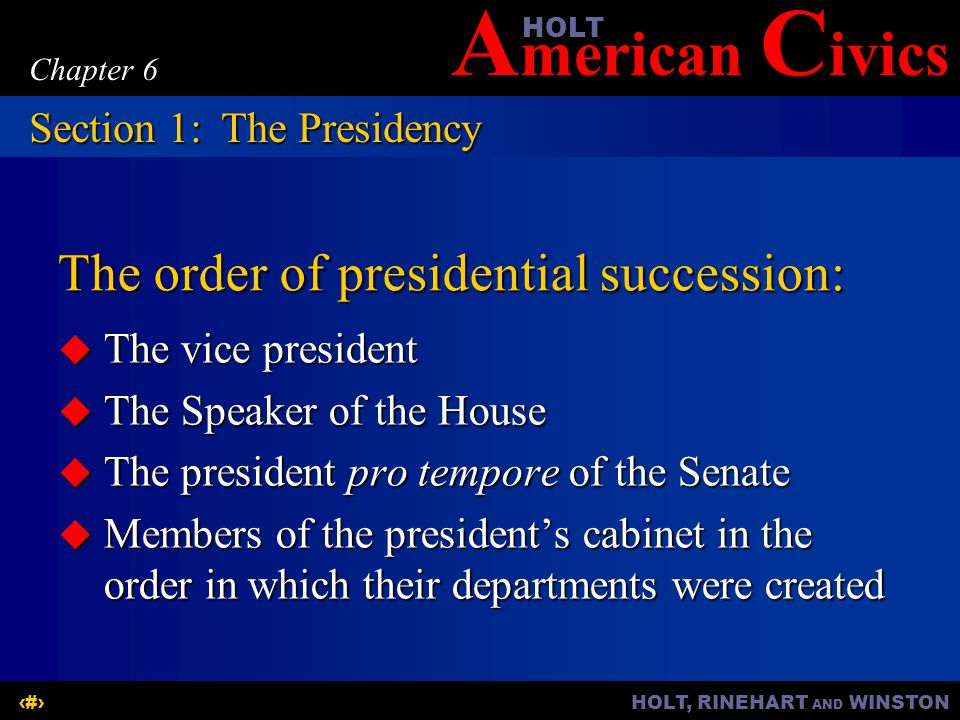 The order of presidential succession: