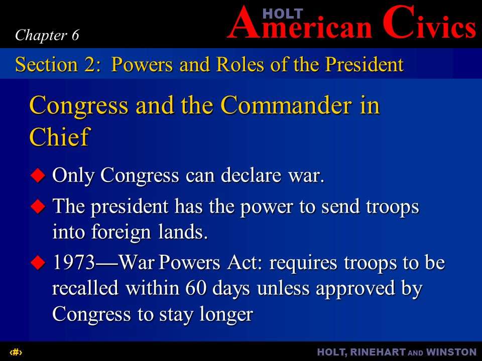 Congress and the Commander in Chief
