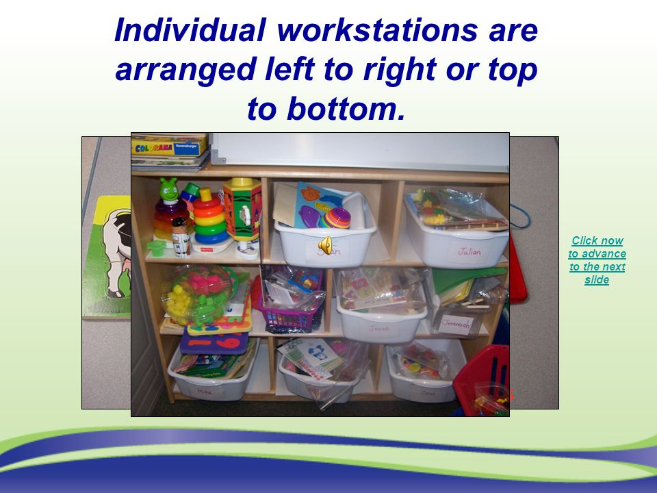 Individual workstations are arranged left to right or top to bottom.