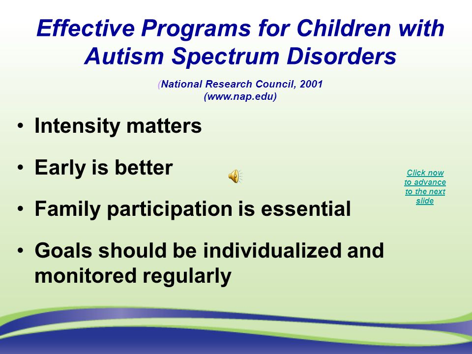 Effective Programs for Children with Autism Spectrum Disorders