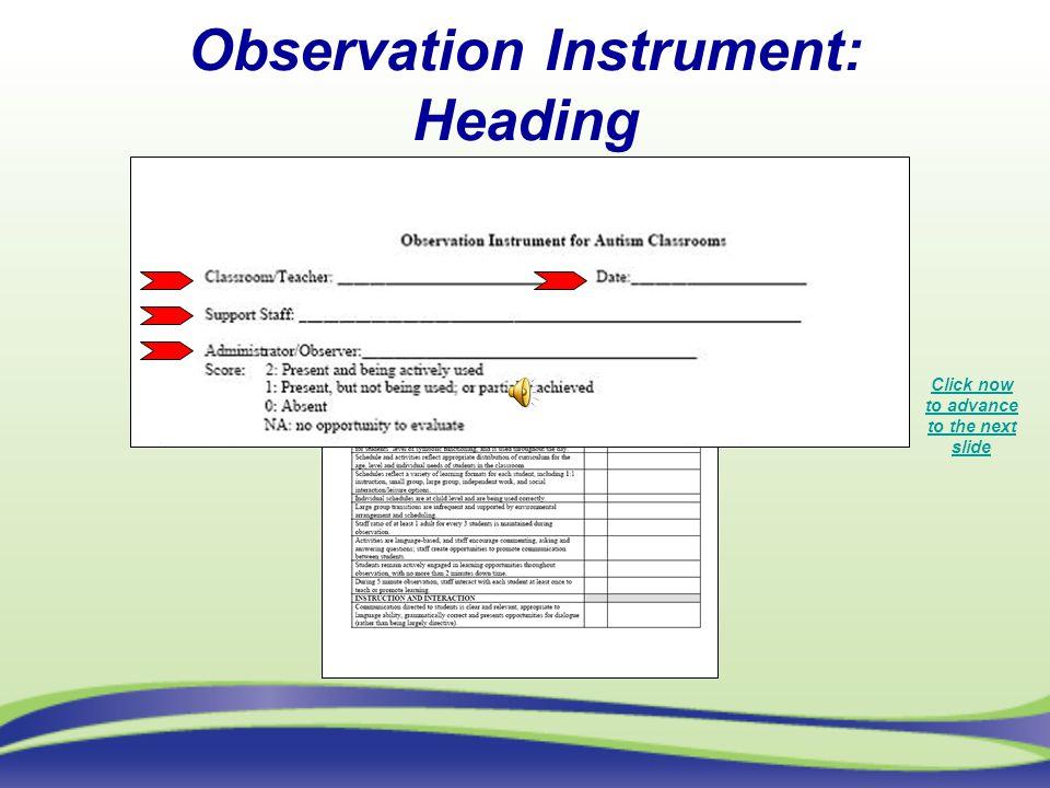 Observation Instrument: Heading