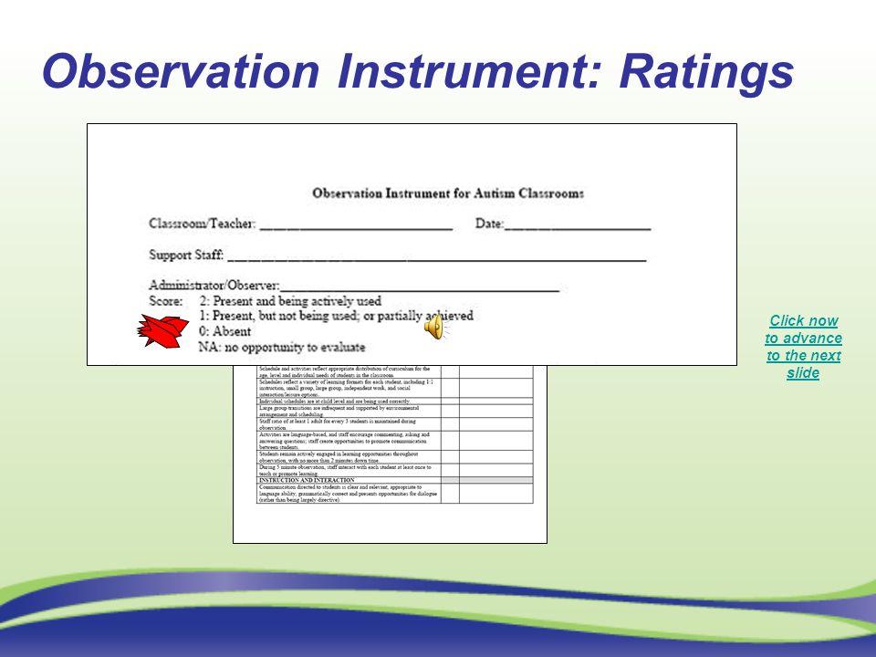 Observation Instrument: Ratings