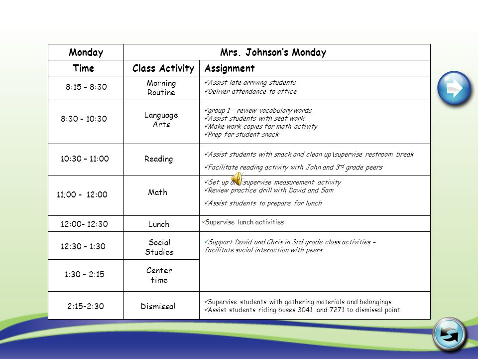 Monday Mrs. Johnson's Monday Time Class Activity Assignment Morning