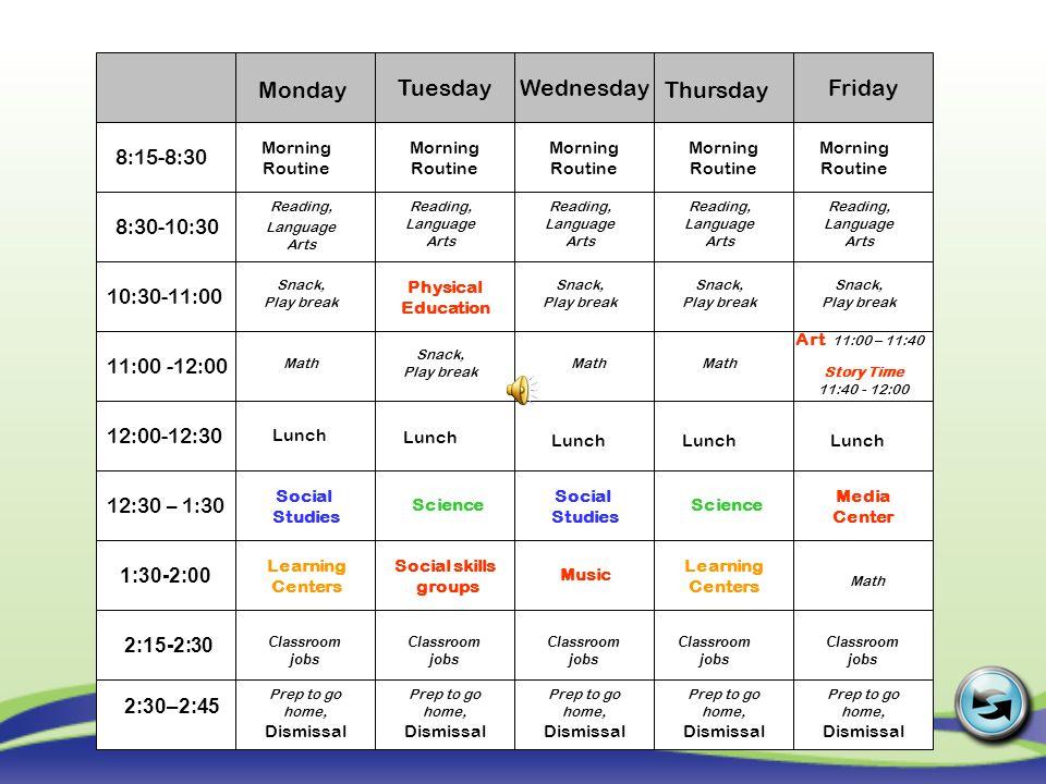 Wednesday Tuesday Friday Monday Thursday 8:15-8:30 8:30-10:30