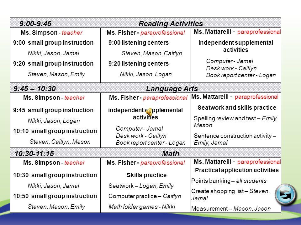 9:00-9:45 Reading Activities Language Arts 10:30-11:15 Math