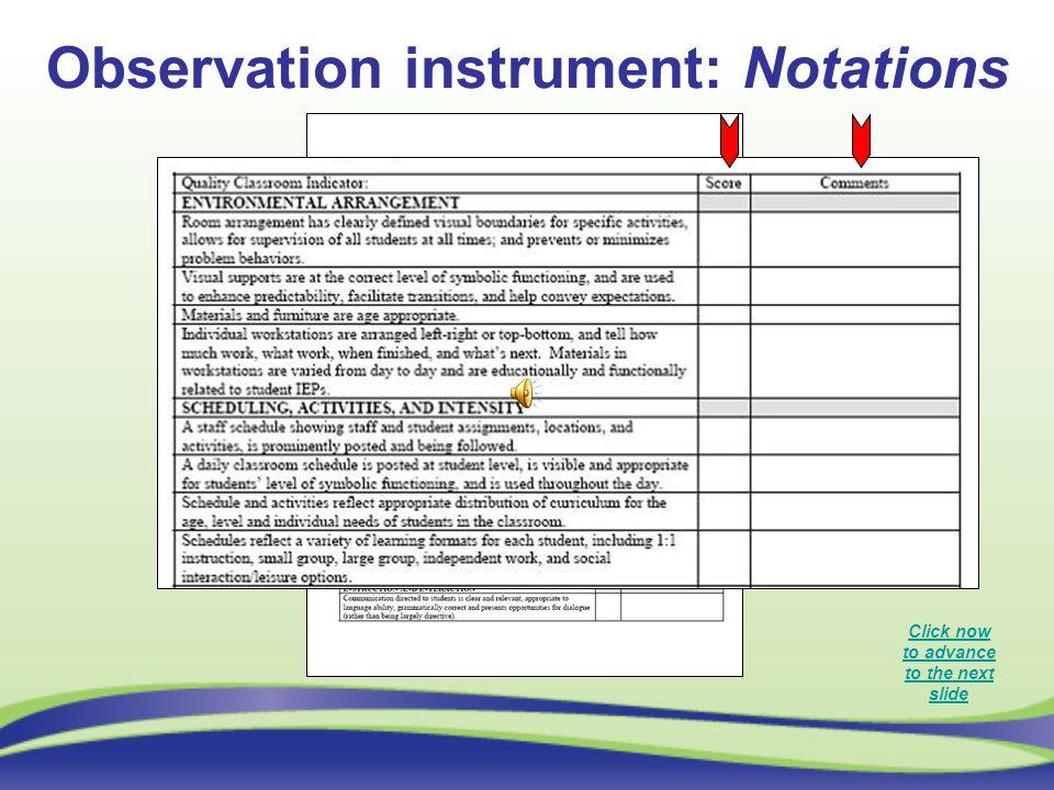 Observation instrument: Notations