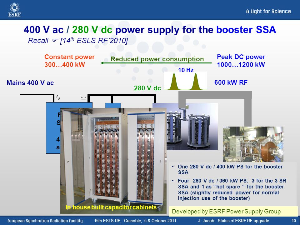 400 V ac / 280 V dc power supply for the booster SSA