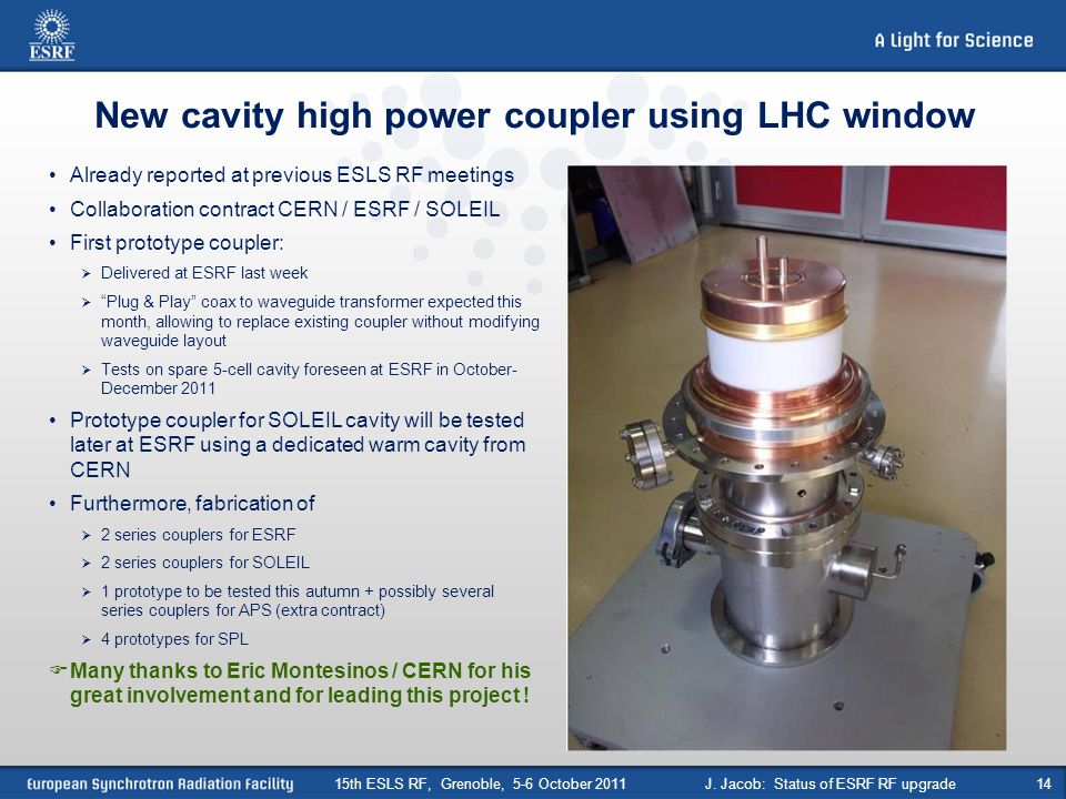 New cavity high power coupler using LHC window