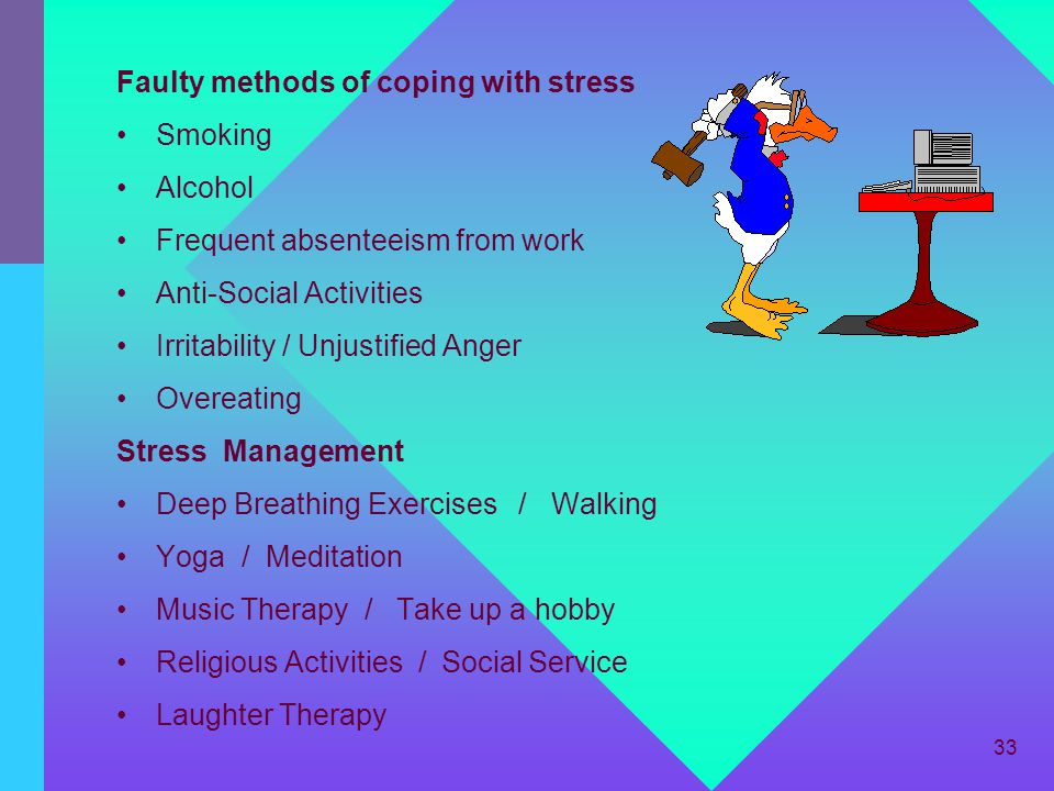 Faulty methods of coping with stress