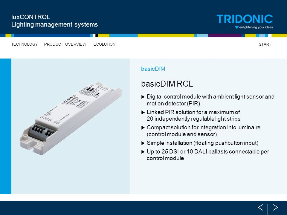 basicDIM RCL luxCONTROL Lighting management systems basicDIM