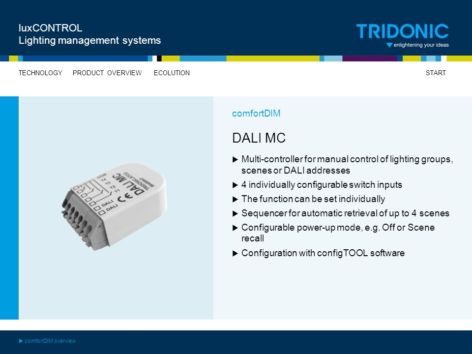 DALI MC luxCONTROL Lighting management systems comfortDIM