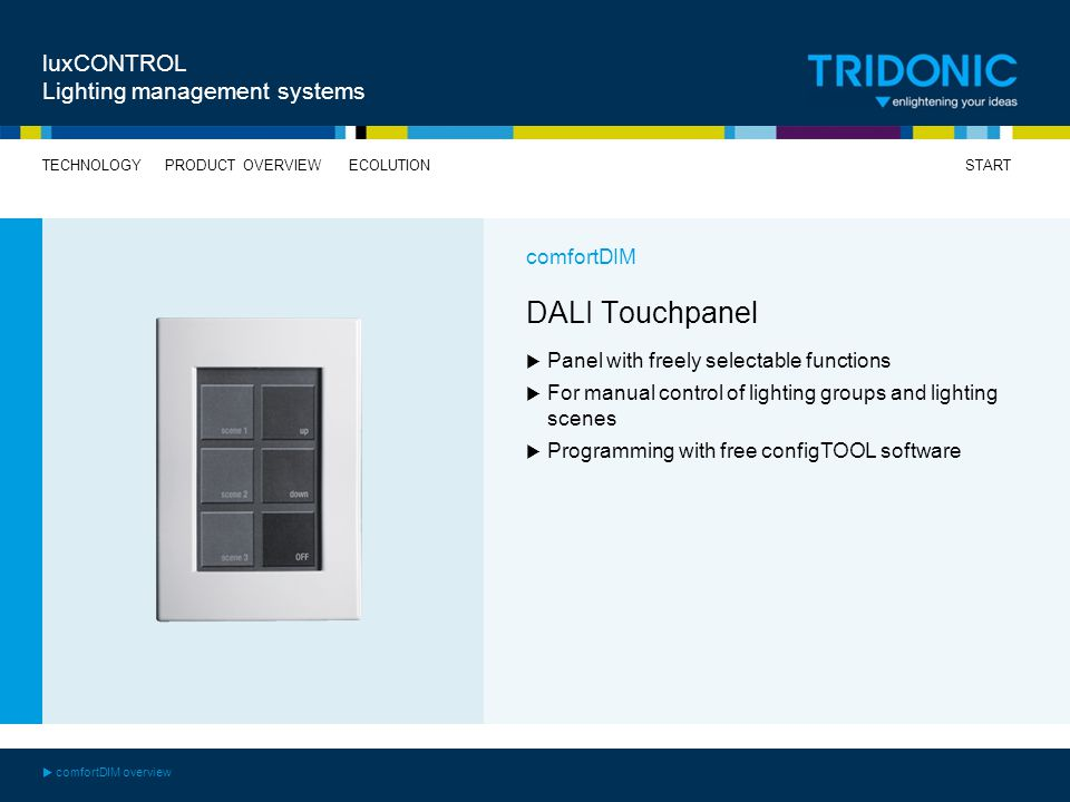 DALI Touchpanel luxCONTROL Lighting management systems comfortDIM