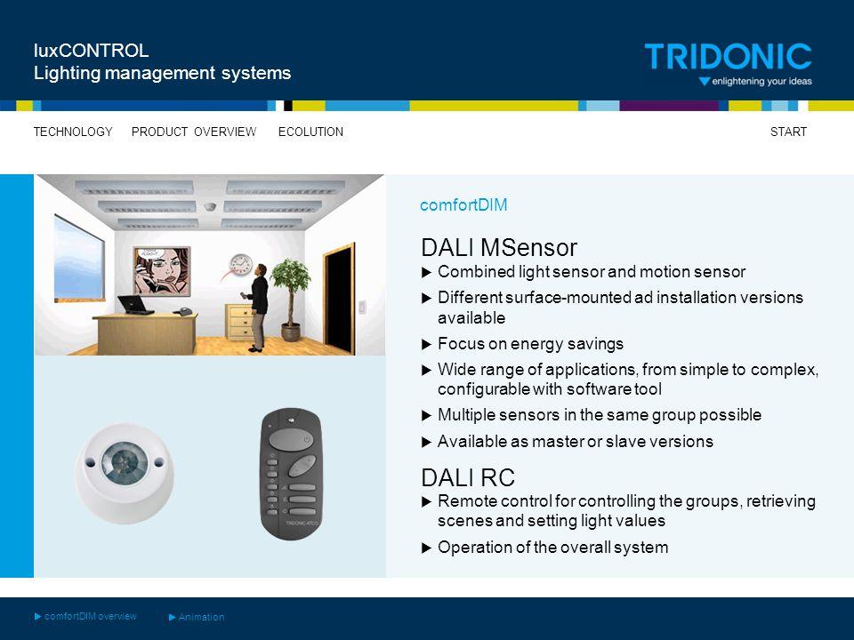 DALI MSensor DALI RC luxCONTROL Lighting management systems comfortDIM