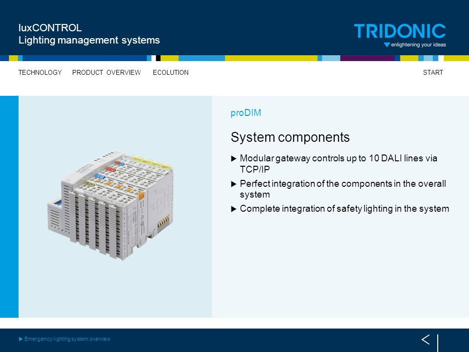 System components luxCONTROL Lighting management systems proDIM