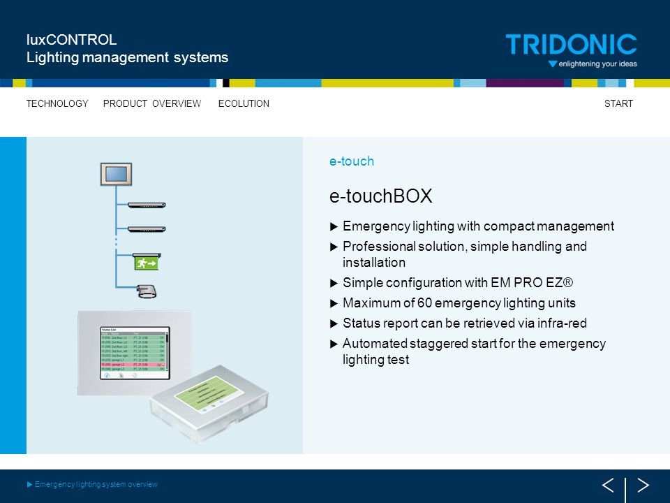 e-touchBOX luxCONTROL Lighting management systems e-touch