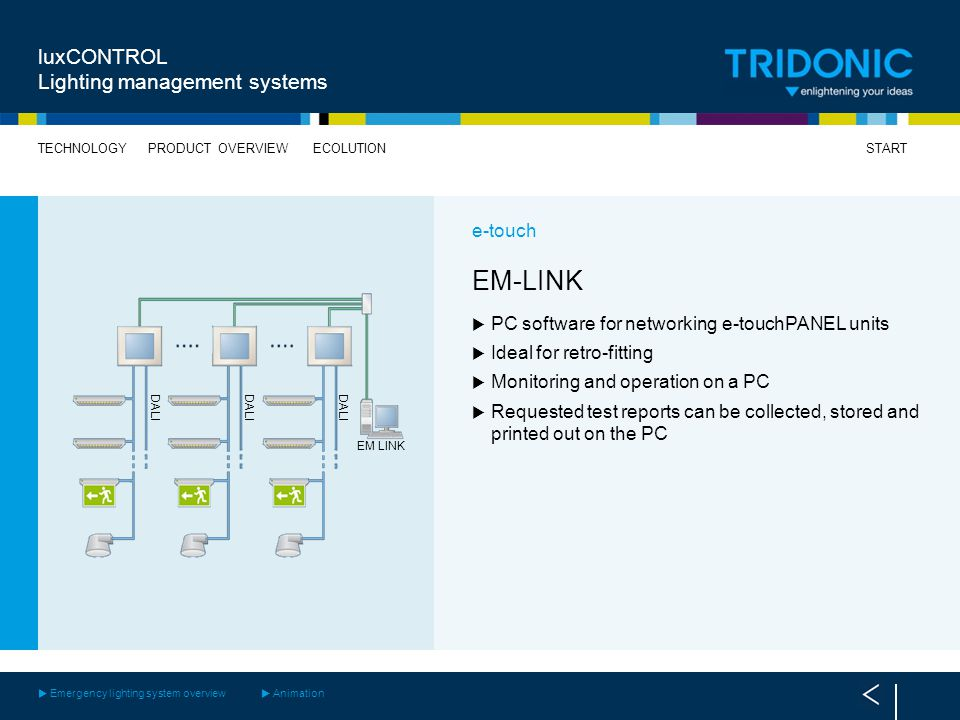 EM-LINK luxCONTROL Lighting management systems e-touch