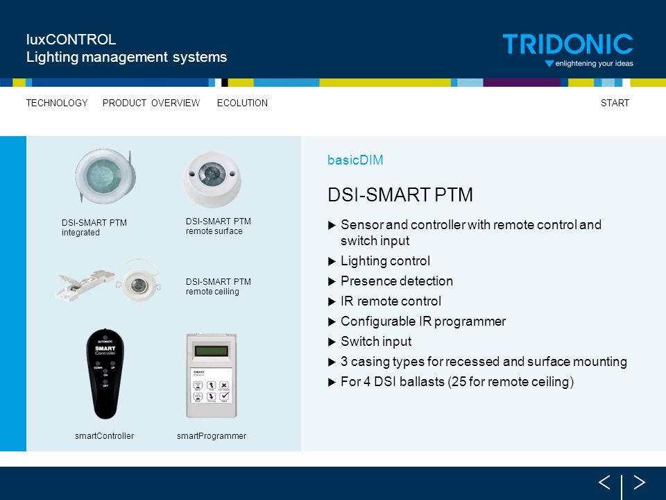 DSI-SMART PTM luxCONTROL Lighting management systems basicDIM
