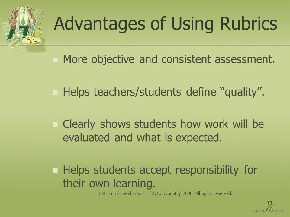 Advantages of Using Rubrics
