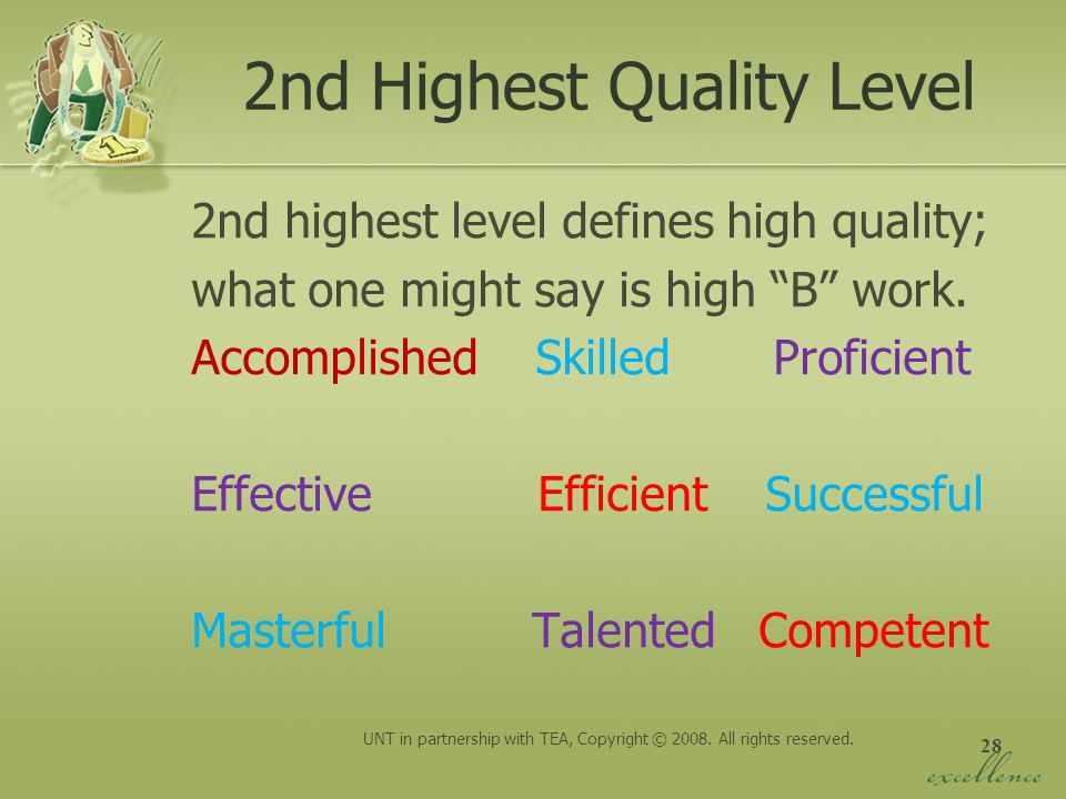 2nd Highest Quality Level