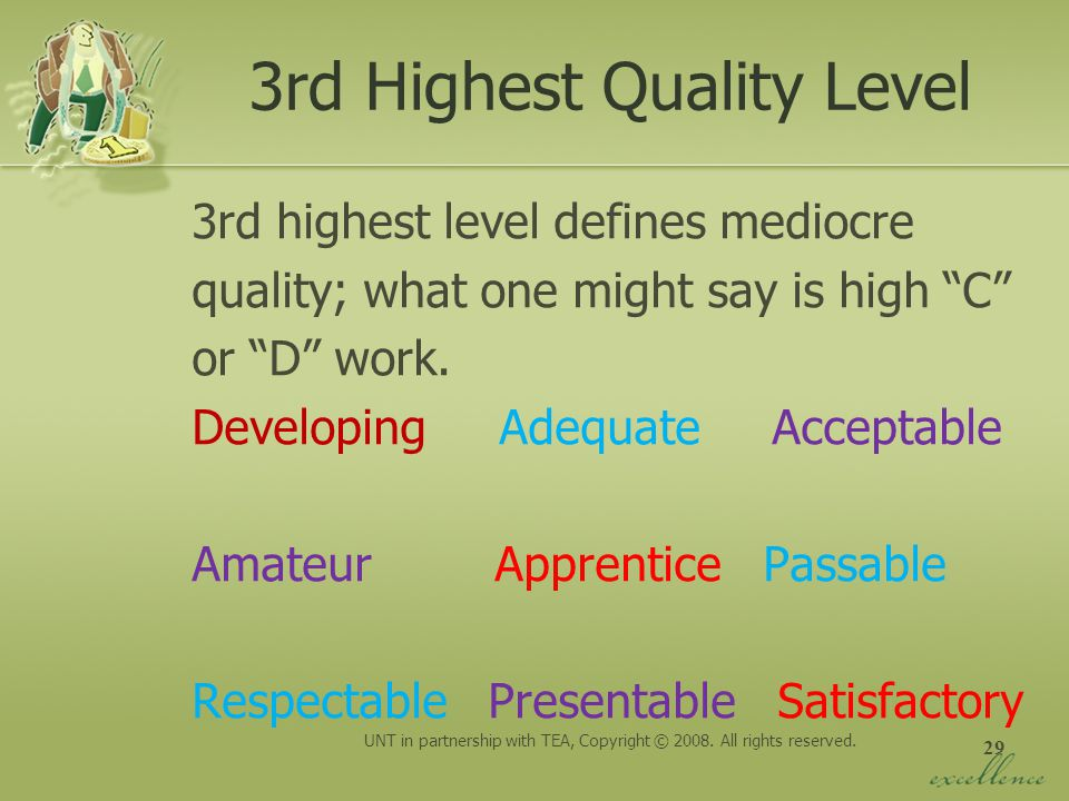 3rd Highest Quality Level