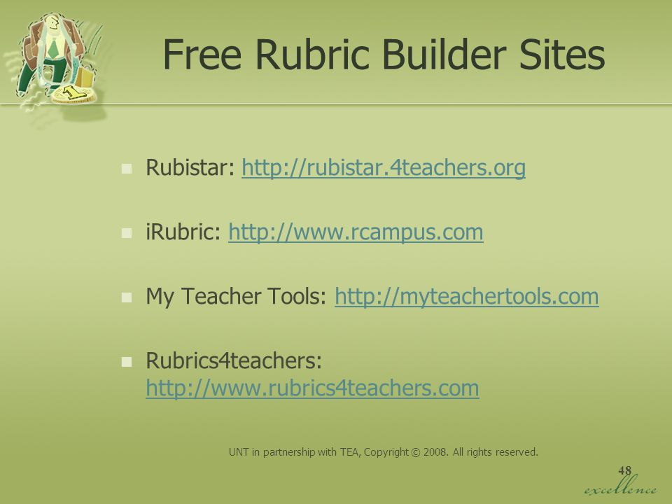 Free Rubric Builder Sites