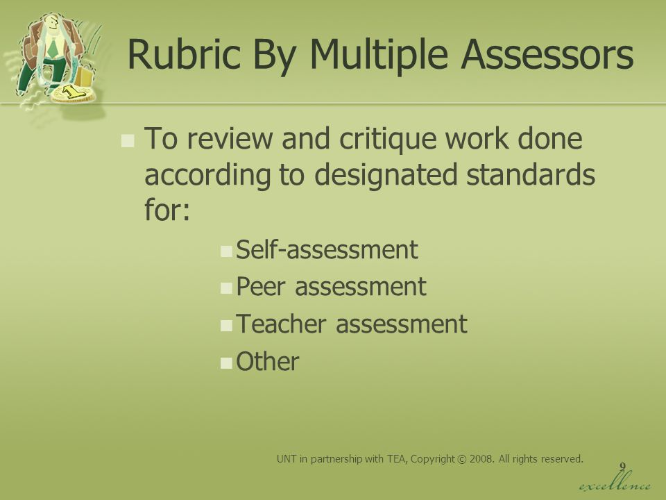 Rubric By Multiple Assessors