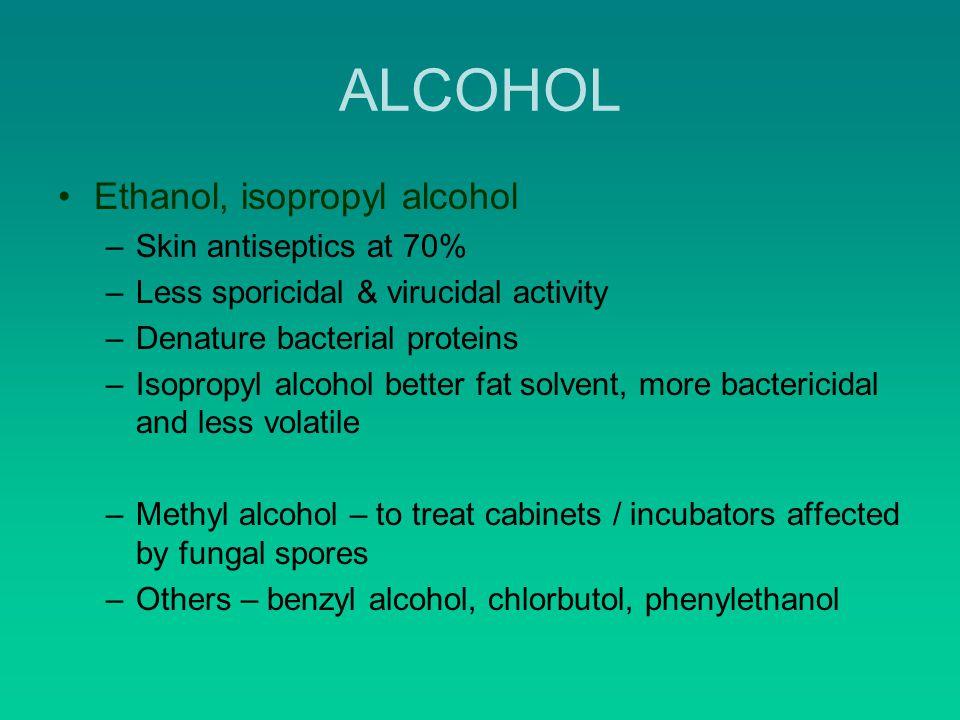 ALCOHOL Ethanol, isopropyl alcohol Skin antiseptics at 70%