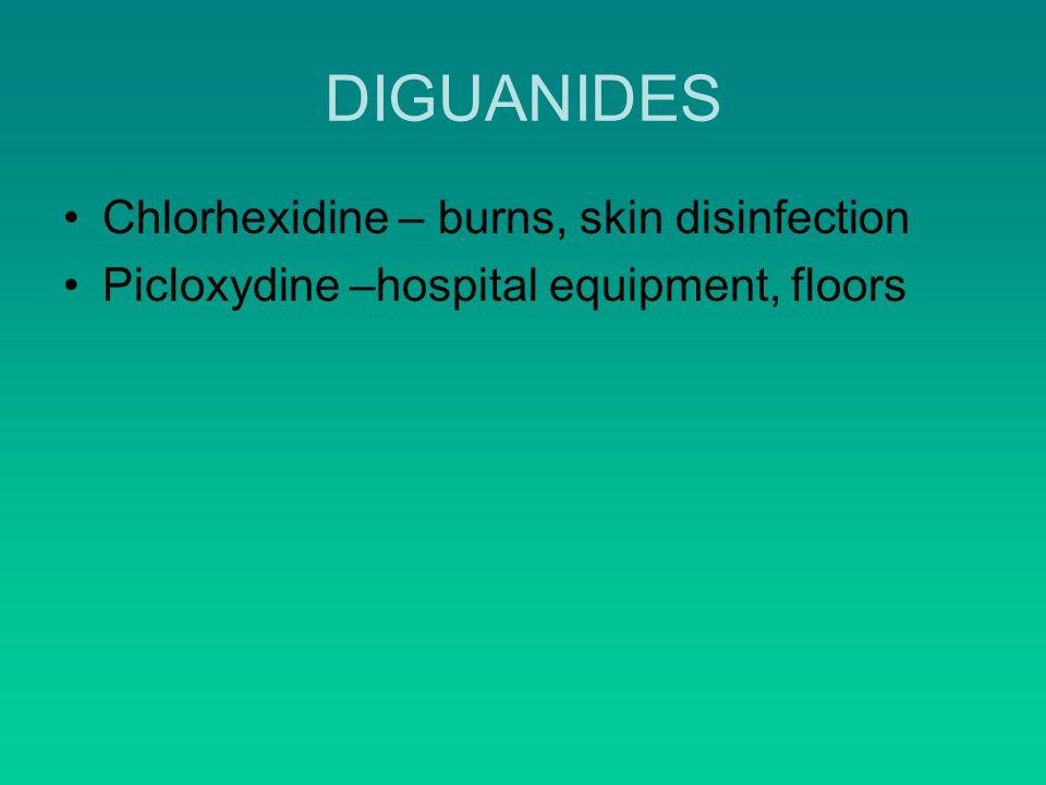 DIGUANIDES Chlorhexidine – burns, skin disinfection