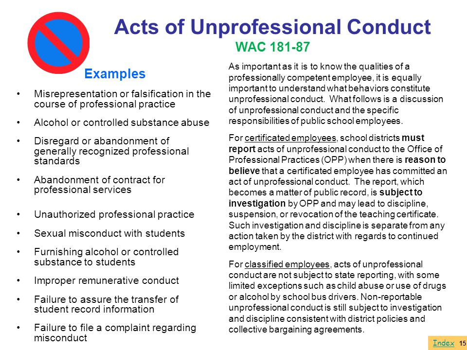 Acts of Unprofessional Conduct WAC 181-87