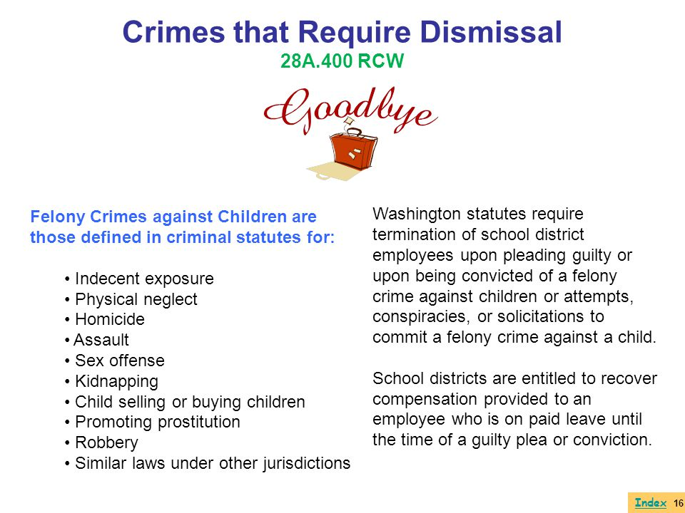 Crimes that Require Dismissal 28A.400 RCW