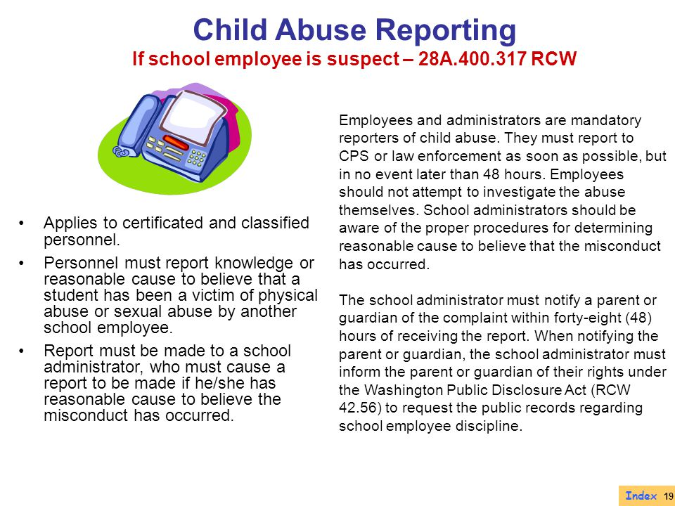 If school employee is suspect – 28A.400.317 RCW
