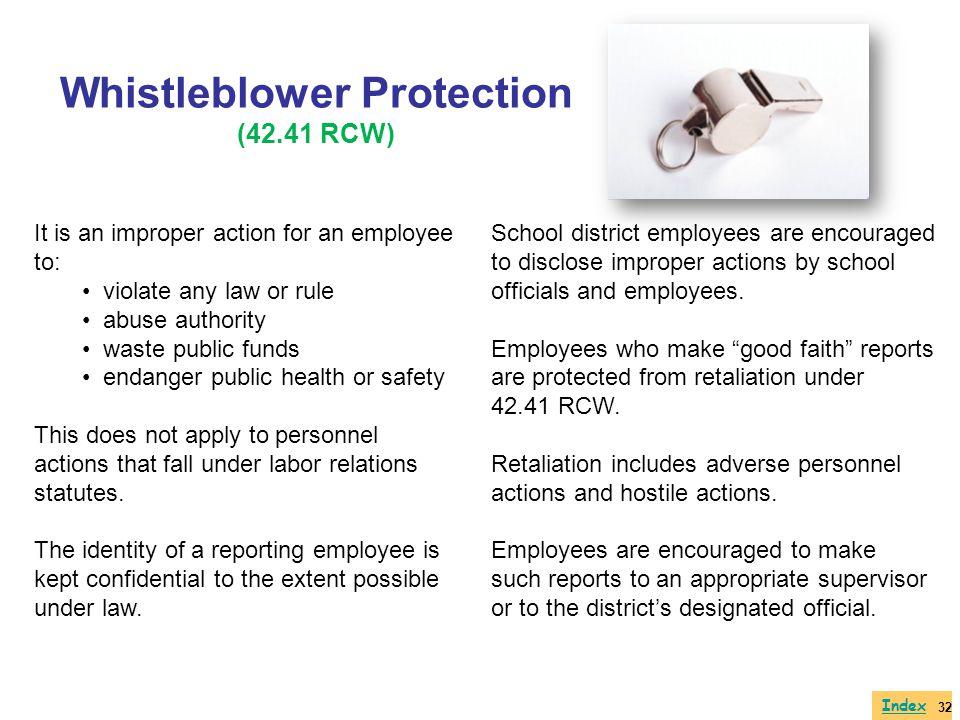 Whistleblower Protection (42.41 RCW)